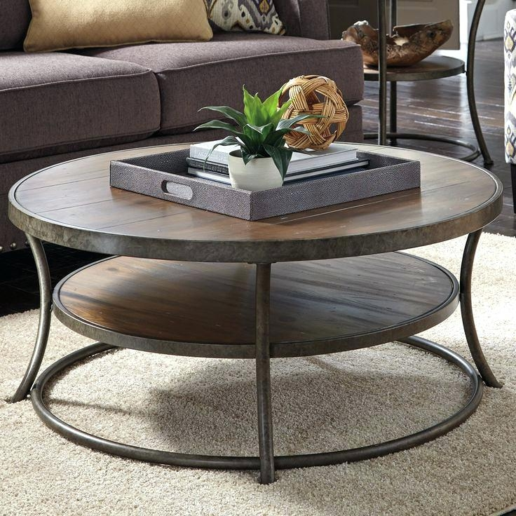 Fantastic Unique Rustic Coffee Tables With Bottom Shelf With Coffee Table 2 Tier Round Coffee Table Addictsround Wooden With (View 47 of 50)