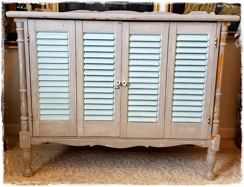 Fantastic Unique Shabby Chic TV Cabinets Pertaining To Cute Chippy Gray White And Seafoam Solid Wood Cabinet Shab Chic (View 14 of 50)