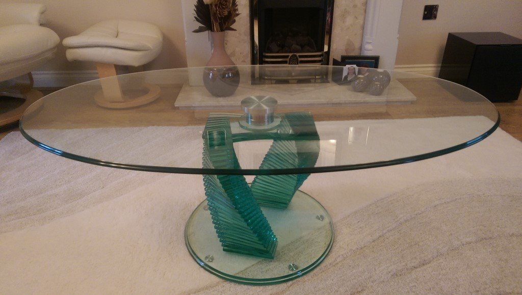 Fantastic Unique Spiral Glass Coffee Table Throughout Oval Glass Coffee Table With Spiral Pedestal In Marston (Image 21 of 50)