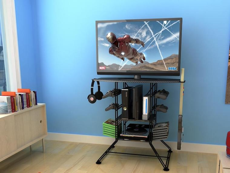 Fantastic Unique TV Stands And Computer Desk Combo Inside 16 Best Gaming Tv Stands Game Racks Of 2017 High Ground Gaming (View 10 of 50)
