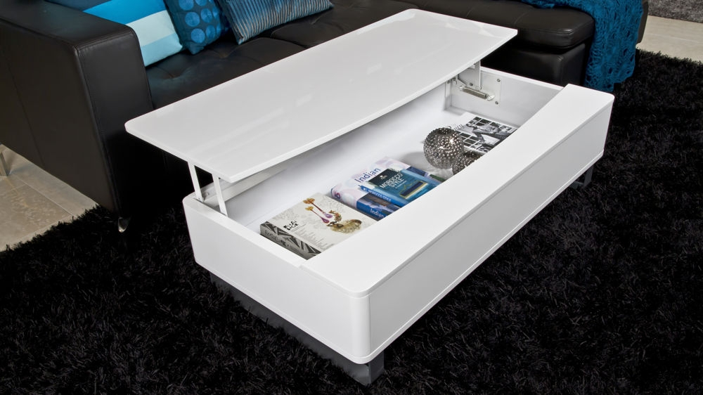 Fantastic Unique White Coffee Tables With Storage Intended For Modern White Gloss Rectangle Coffee Table Uk (View 27 of 50)