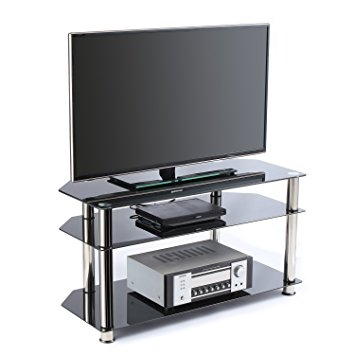 Fantastic Variety Of Black Glass TV Stands Regarding Amazon Rfiver Black Tempered Glass Tv Stand Suit For Up To  (Image 20 of 50)