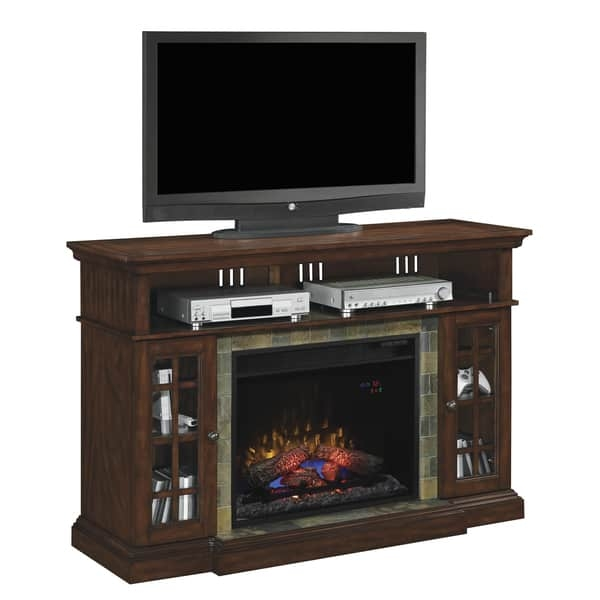 Fantastic Variety Of Cherry TV Stands In Lakeland Tv Stand With 28 Inch Infrared Quartz Fireplace Roasted (Image 20 of 50)