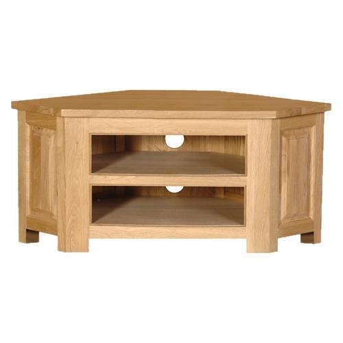 Fantastic Variety Of Corner Oak TV Cabinets Regarding Coach House Quebec Oak Low Corner Tv Cabinet Oak Furniture Solutions (Image 22 of 50)