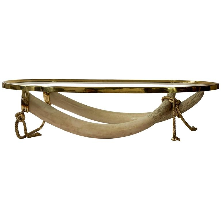 Fantastic Variety Of Elephant Coffee Tables Regarding Large Glass And Brass Elephant Tusk Base Coffee Table Valenti (Image 24 of 50)