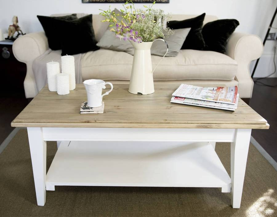 Fantastic Variety Of French White Coffee Tables Regarding Country Living Room Tables French Country Coffee Table With Two (Image 26 of 50)