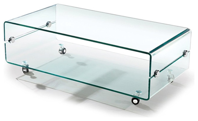 Fantastic Variety Of Glass Coffee Tables With Casters Throughout Modern Bent Glass Coffee Table On Casters Slide Contemporary (Image 19 of 50)