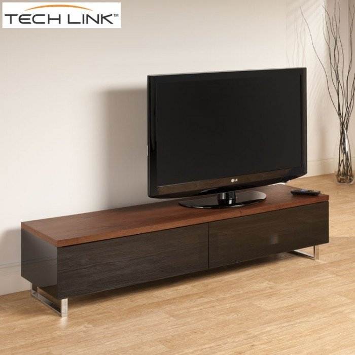 Fantastic Variety Of Large TV Cabinets Inside Techlink Pm160w Panorama Piano Gloss Black And Walnut Large Tv (View 49 of 50)