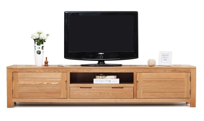 Fantastic Variety Of Long Wood TV Stands Inside Modern Long Oak Led Tv Stand Table With 2 Storage Cabinet And (Image 22 of 50)