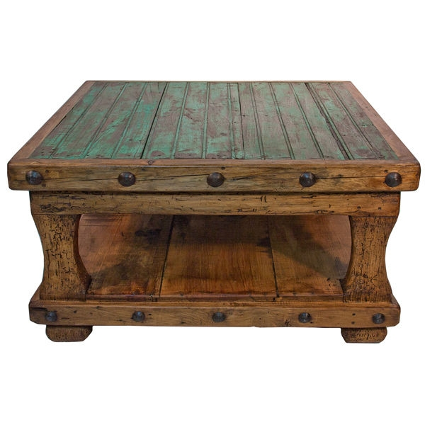 Fantastic Variety Of Square Pine Coffee Tables Pertaining To Square Coffee Table With Shelf Brazilian Pine Rustic Western Lodge (Image 25 of 50)