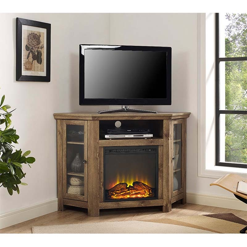 Fantastic Wellknown Corner TV Stands For 50 Inch TV Regarding Walker Edison Corner Fireplace Tv Stand For 50 Inch Screens (Image 21 of 50)
