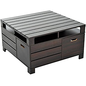 Fantastic Wellknown Dark Wood Chest Coffee Tables Throughout Amazon Rustic Square Crate Style Wood Like Coffee Table With (Photo 36 of 50)