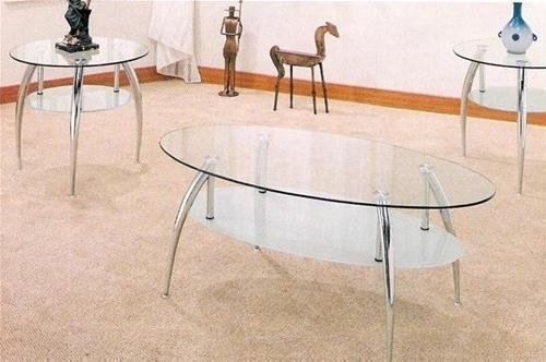 Fantastic Wellknown Glass And Chrome Coffee Tables Within Amazon Beautiful 3 Pc Chrome And Glass Coffee Table Set (Image 24 of 50)