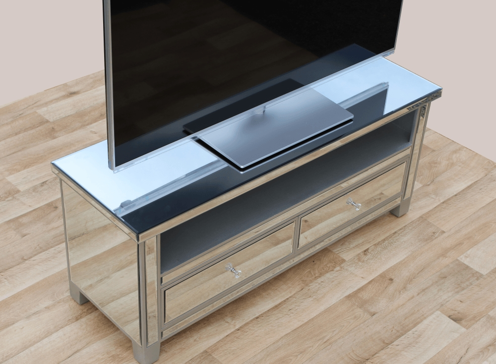 Fantastic Wellknown Mirrored TV Stands Intended For Mirrored Tv Stand Home Design Ideas (View 12 of 50)
