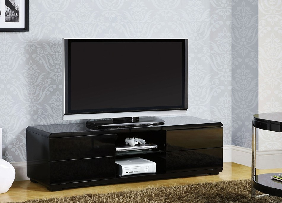 Fantastic Well Known Modern Black TV Stands Inside Black Lacquer Finish Tv Stand (Image 16 of 50)