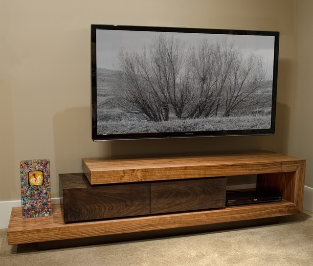 Fantastic Well Known Modern Walnut TV Stands Pertaining To Walnut Tv Stand Contemporary Home Theater Boise J (View 2 of 50)