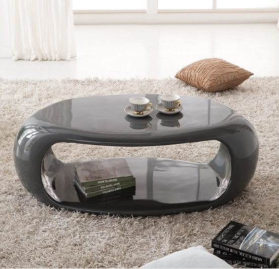 Fantastic Wellknown Oval Gloss Coffee Tables With Straas Curved High Gloss Coffee Table In Dark Grey (View 15 of 40)