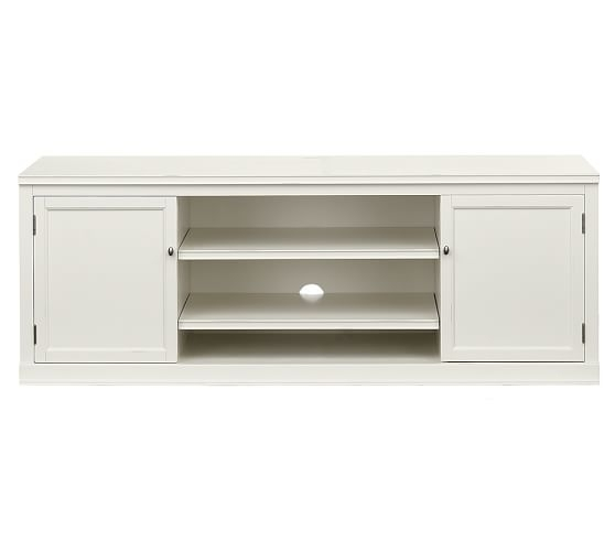 Fantastic Wellknown Small White TV Stands Pertaining To Logan Large Tv Stand Antique White Pottery Barn (Image 19 of 50)