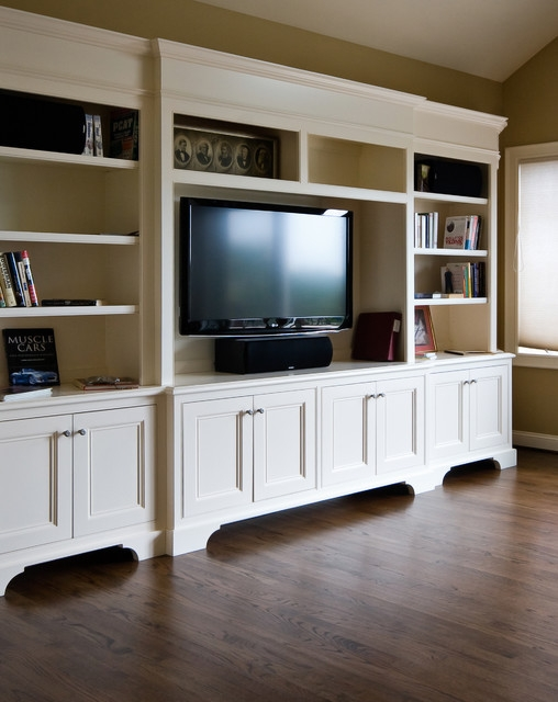 Fantastic Well Known Traditional TV Cabinets Inside White Tv Cabinet Bookshelf Traditional Family Room (Image 17 of 50)