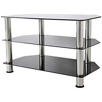 Fantastic Well Known White Glass TV Stands Regarding Amazon Avf Sdc800 A Tv Stand For Up To 42 Inch Tvs Black (Image 28 of 50)