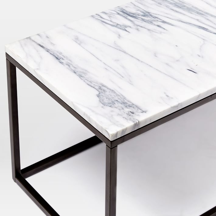 Fantastic Well Known White Marble Coffee Tables Regarding Box Frame Coffee Table Marbleantique Bronze West Elm (Image 20 of 50)