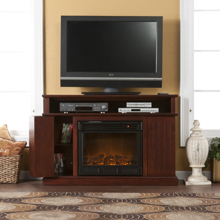 Fantastic Wellliked Cherry Wood TV Stands Regarding Cherry Wood Tv Stand With Electric Fireplace And Cd Storage (Image 15 of 50)