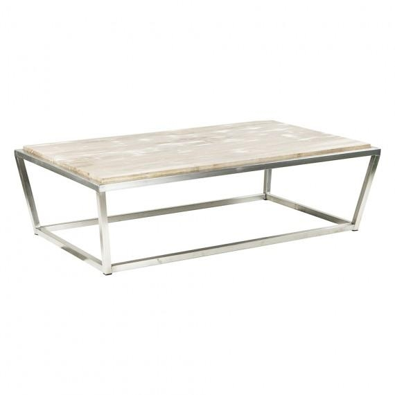 Fantastic Wellliked Chrome And Wood Coffee Tables Intended For Chrome Metal Whitewash Cocktail Table (Image 19 of 50)