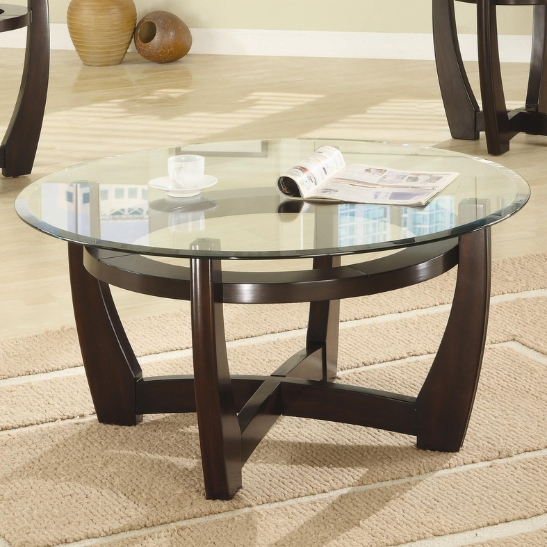 Fantastic Wellliked Circular Glass Coffee Tables Throughout Brown Glass Coffee Table Set Steal A Sofa Furniture Outlet Los (Image 15 of 50)