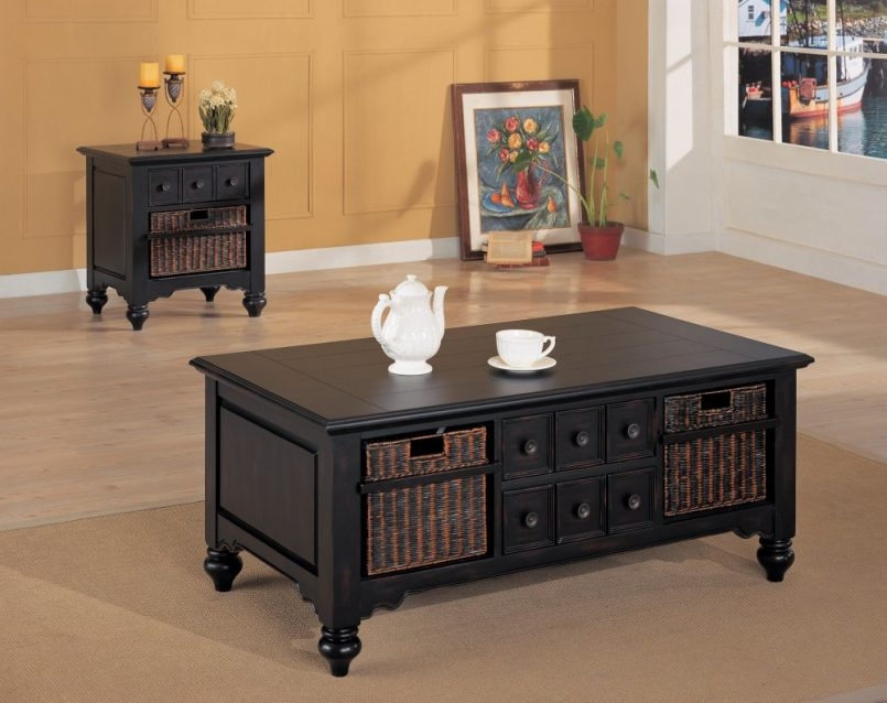 Fantastic Wellliked Coffee Tables And Side Table Sets Regarding Black Coffee Table Sets (Image 25 of 50)