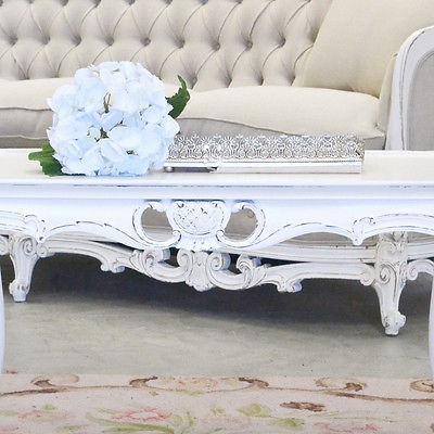 Fantastic Wellliked French White Coffee Tables Within Shab Cottage Chic White Coffee Table Vintage French Style (View 29 of 50)