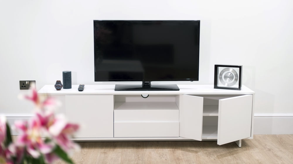 Fantastic Wellliked Large White TV Stands In Bathroom Stylish Stanley Lcd Tv Stand In White With 2 Drawers (Image 21 of 50)