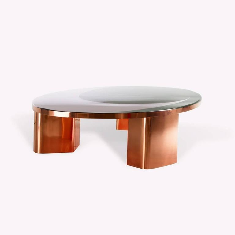 Fantastic Wellliked Oval Shaped Coffee Tables Throughout 21st Century European Copper And Resin Inlay Oval Shaped Coffee (View 49 of 50)