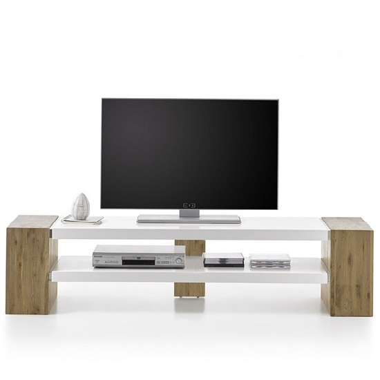 Fantastic Wellliked Rectangular TV Stands With Peter Rectangular Tv Stand In Matt White And Knotty Oak (Image 22 of 50)