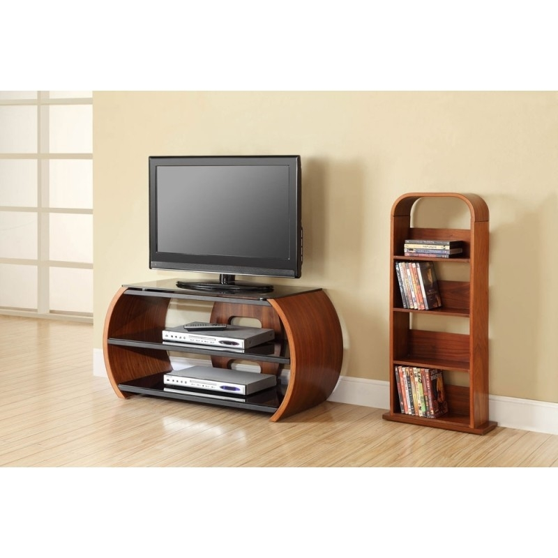 Fantastic Wellliked Walnut TV Stands Within Choice Curved Walnut Open Tv Stand Furniture4yourhome (View 7 of 50)