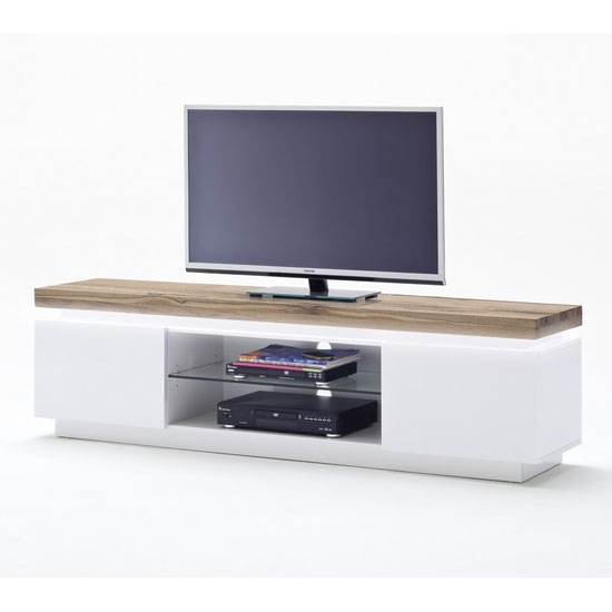 Fantastic Wellliked White And Wood TV Stands Intended For Romina Lowboard Tv Stand In Knotty Oak And Matt White With (Image 23 of 50)