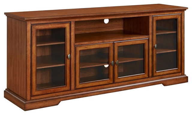 Fantastic Wellliked Wood TV Stands With Walker Edison 70 Highboy Style Tv Stand In Espresso Traditional (Image 27 of 50)