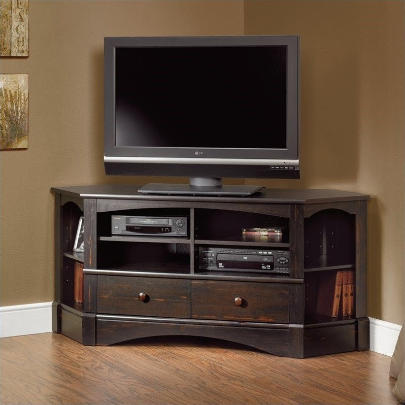 Fantastic Widely Used Corner TV Stands Inside Corner Tv Stand In Antiqued Black  (Image 20 of 50)