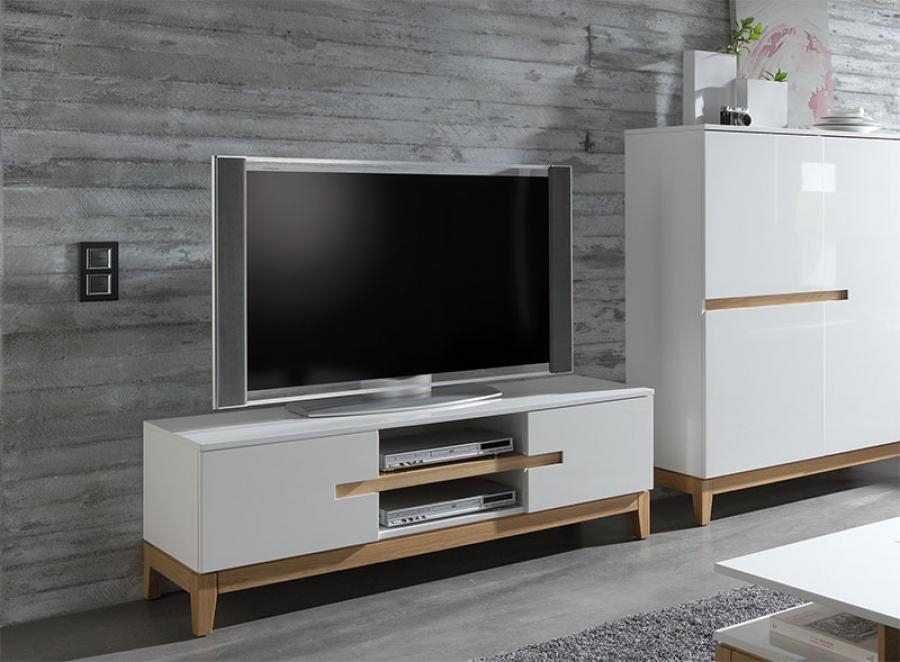 Fantastic Widely Used Cream Gloss TV Stands Within Tv Stands Awesome Dresser Top Tv Stand And Monitor Stand Table (Image 27 of 50)