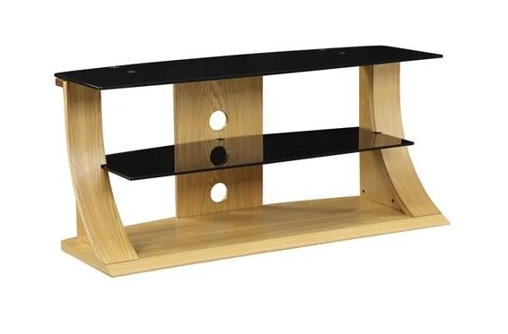 Fantastic Widely Used Glass And Oak TV Stands Within Curve Oak Tv Stand Black Glass 1100 Entertainment Tv Units (Image 17 of 50)