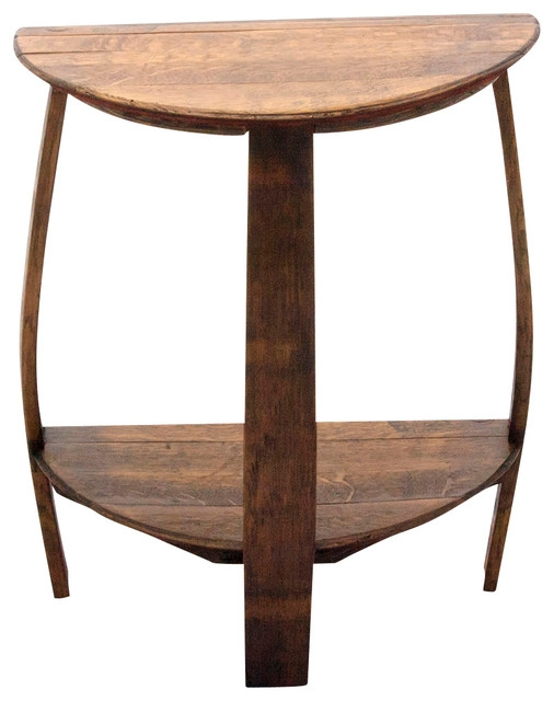 Fantastic Widely Used Half Circle Coffee Tables Regarding The Wine Barrel Half Round End Table Rustic Side Tables And (View 7 of 40)