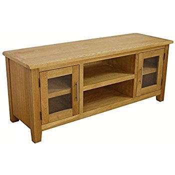 Fantastic Widely Used Large Oak TV Cabinets With Regard To Solid Oakland Chunky Oak Large Tv Dvd Video Stand Tv Cabinet (Image 26 of 50)