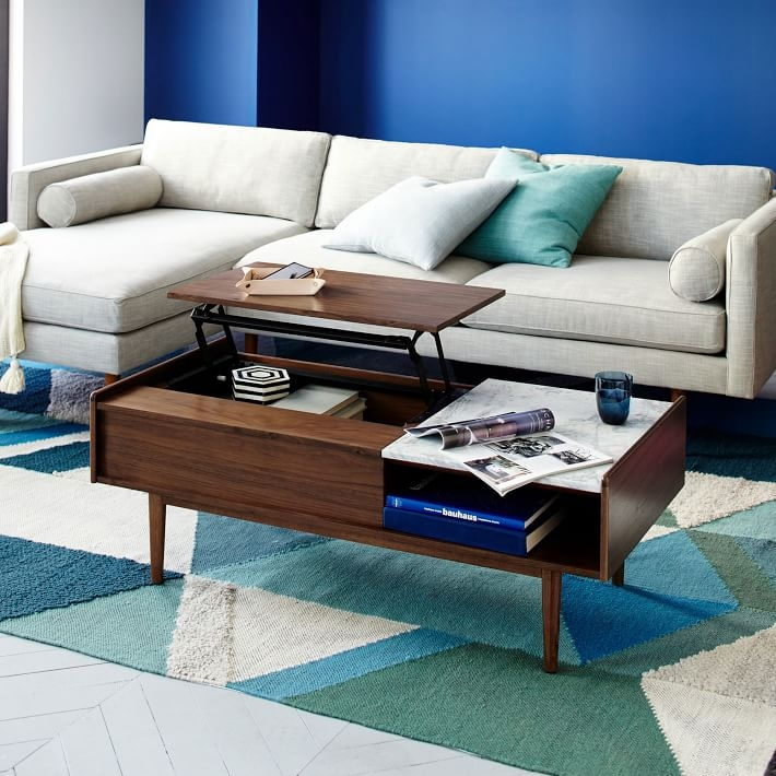 Fantastic Widely Used Raise Up Coffee Tables Within Mid Century Pop Up Storage Coffee Table Walnut West Elm (View 38 of 40)