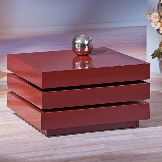 Fantastic Widely Used Red Gloss Coffee Tables In Triomo Storage Coffee Table With Rotation In Marsala High (Image 16 of 40)