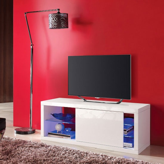 Fantastic Widely Used Red Gloss TV Stands For Consort Sliding Door Lcd Tv Stand In White Gloss With Led (Image 25 of 50)
