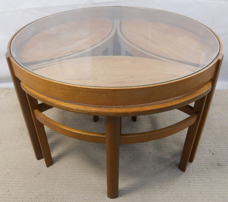 Fantastic Widely Used Retro Glass Top Coffee Tables With Retro Light Teak Circular Glass Top Coffee Table Nest Of Tables (Image 14 of 40)