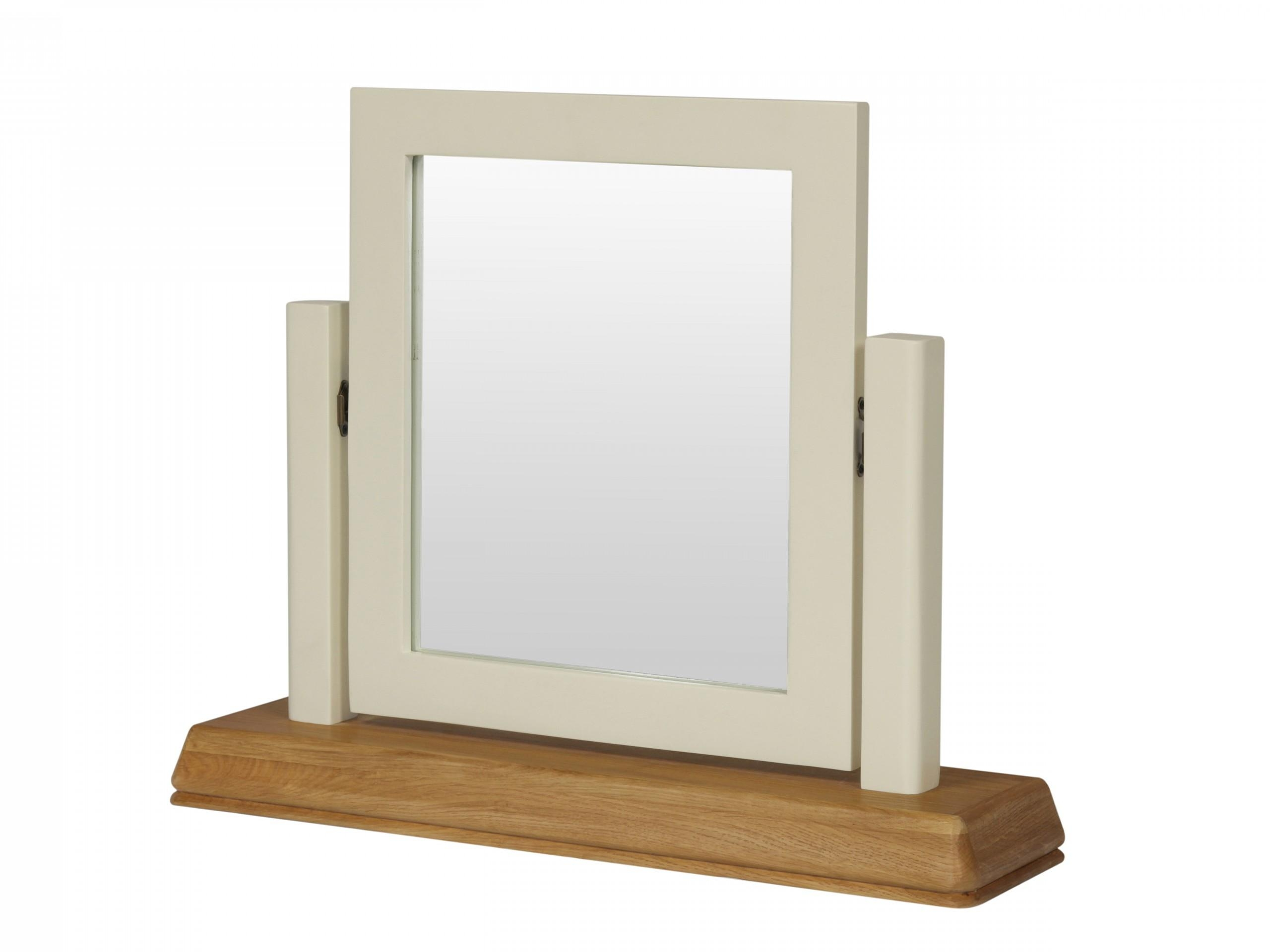 Farmhouse Country Oak Cream Painted Dressing Table Mirror For Dressing Table Mirror (Image 7 of 20)