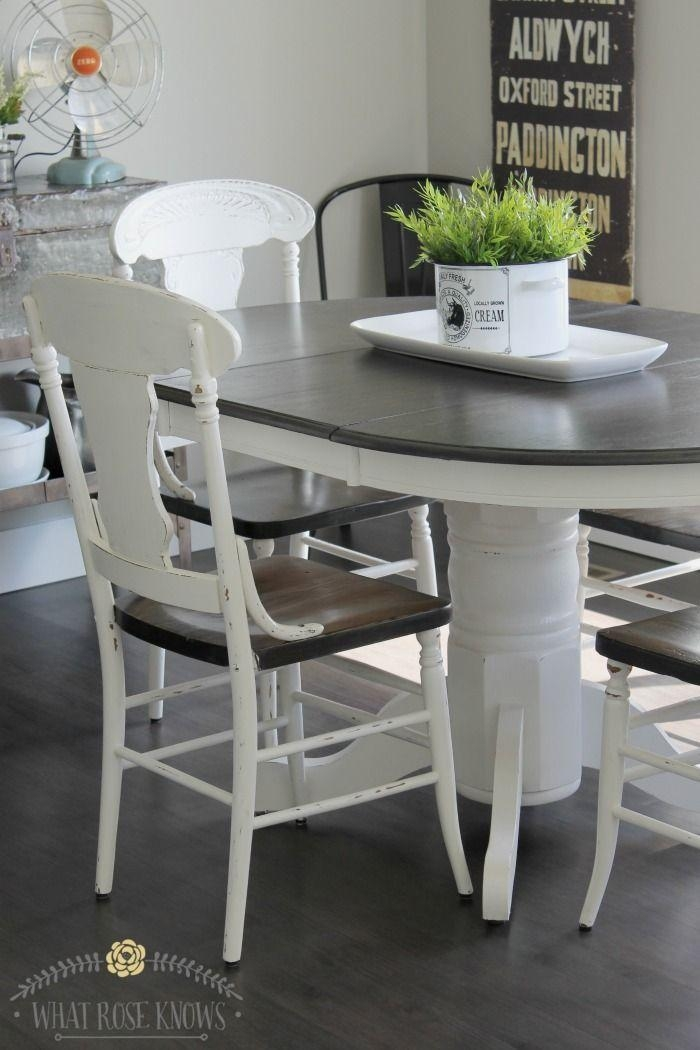 Farmhouse Style Painted Kitchen Table And Chairs Makeover In Ivory Painted Dining Tables (View 7 of 20)
