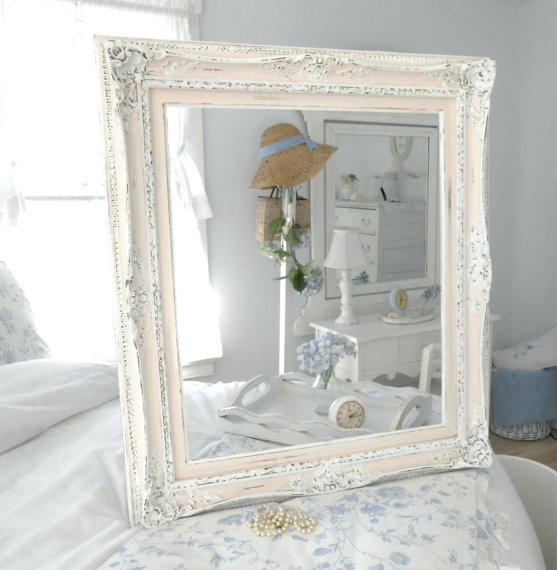 Farmhouse Window Mirror Shabby Chic Large Distressed White Wall Regarding White Shabby Chic Mirror Sale (Image 11 of 20)