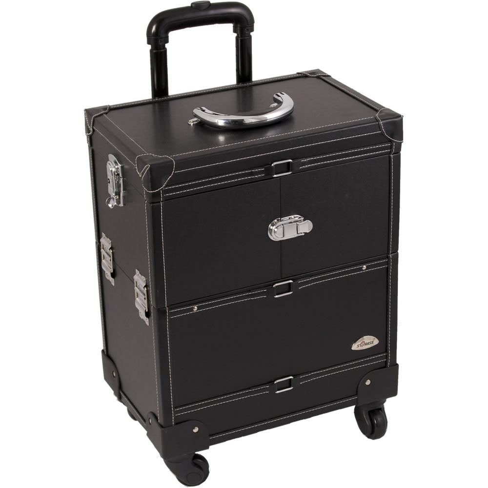 Faux Leather Black Makeup Artist Rolling Trolley Cosmetic Case In Black Faux Leather Mirror (View 10 of 20)