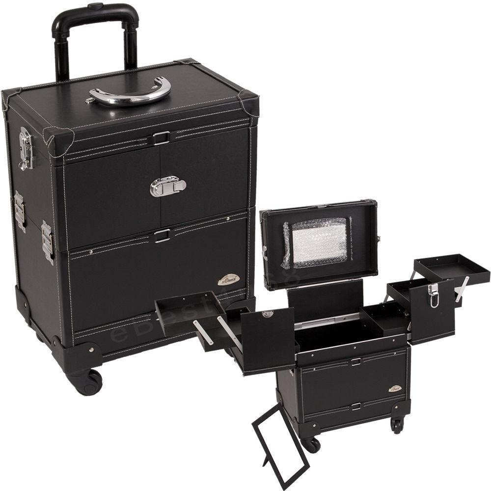 Faux Leather Black Makeup Artist Rolling Trolley Cosmetic Case Pertaining To Black Faux Leather Mirror (View 17 of 20)